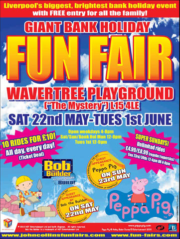 Poster advertising John Collins Giant Bank Holiday Fun Fair at Wavertree Park, featuring childrens characters Pepa Pigand Bob the Builder,image