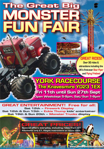 Poster from the Great Big Monster Funfair held at York Racecourses Knavesmire and featuring Monster trucks ,image