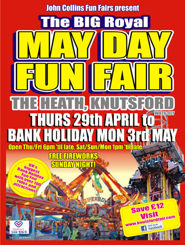 Poster advertising John Collins Funfair and the Knutsford Royal Mayday,image