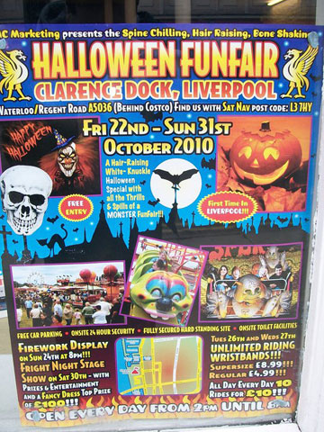 Poster advertising John Collins Halloween Fun fair at Clarence dock in Liverpool,image