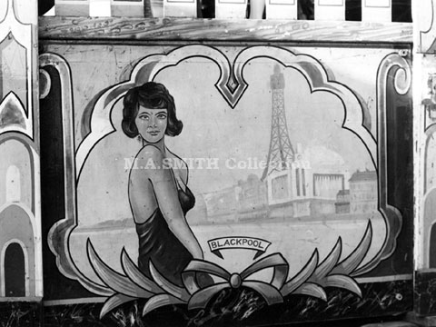 Artwork on shutter – M A Collins' first Maxwell Waltzer, Bury March Fair, March 1977,M A Smith Collection,image